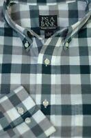 Jos A Bank Men's Travelers Gray White Check Cotton Casual Shirt L Large