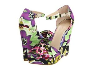 NINE WEST womens purple floral fabric wedges size 6M brand new 'let it go' heel