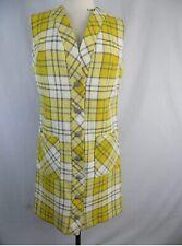 Adorbs 😎Vintage Chelsea New York 60s/70s Yellow/Grey Plaid Sheath Dress *Euc*