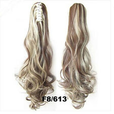 "22"" Ponytail Clip In Premium Hair Extensions Claw On Pony Tail Synthetic Curly"