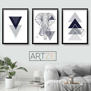Set of 3 GEOMETRIC Navy Blue Grey ELEPHANT Wall Art Print Picture Poster