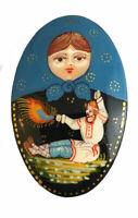Barrette russe bleu avec matriochka - Peint à la main Peintre Serova