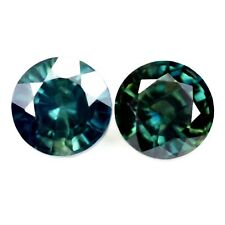Certified 5mm Round Natural Multi-Color Sapphire 1.61ct VS Clarity Matching Pair