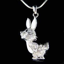 w Swarovski Crystal Enamel paint Hase Easter Bunny Rabbit Pendant Chain Necklace