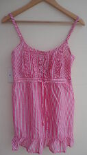 BNWT Pink/White Striped GEORGE Spag. Strap Cami Top U'bust D'String Size 10