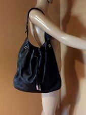 Gucci Vintage Black Leather Drawstring Shoulder Bag