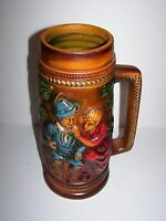 HUGE Vintage Made in Japan Decorative Stein German Inspired Bavarian Girl & Boy