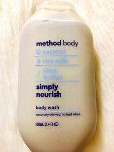 J❤ 2 METHOD BODY WASH. SIMPLY NOURISH 3.4 OZ COCONUT RICE MILK SHEA BUTTER