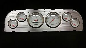 1960 1961 1962 1963 Chevy Truck 6 Gauge Dash Panel Insert Brushed Billet White