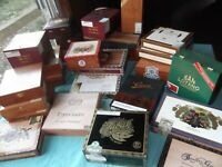 Lot of 10 fancy solid wood cigar boxes, all different