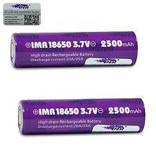 X 2 Efest 18650 2500mAh 20A batería IMR Alto Consumo Parte Superior Plana probado de manera independiente