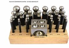 25 pc Doming Block and Punch Set Solid Steel Construction 24 Punches & Block