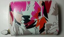 """""""L.K.BENNETT"""" leather white with red, pink flowers  women's wallet"""