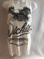 Woman's Dickies Girl Plunging Graphic Tank Top Tee White Small Distressed Eagle