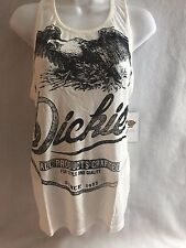 db86dc61d086b0 Woman s Dickies Girl Plunging Graphic Tank Top Tee White Small Distressed  Eagle