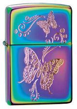 "Zippo ""Engraved Butterflies"" Lighter, Spectrum Finish, Full Size, 28442"