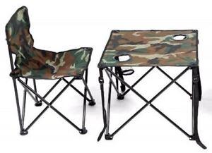 Folding Table Chair 2 Piece Set  Camo Camping Picnic Garden Patio Portable