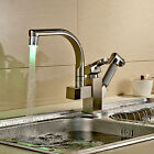Fashion Brushed Nickel Pull Out Spray Sink Faucet LED Swivel Spout Mixer Tap