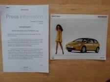 HONDA CIVIC 3 DOOR orig 2001 UK Mkt Press Release + Photo - Brochure