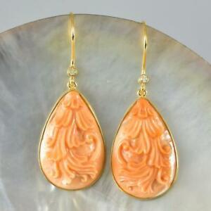 18K Gold Vermeil Sterling Silver Hook Earrings Shell Carving Diamonds 9.28 g