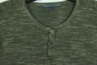 Men's M John Varvatos Knit Henley Lightweight Cotton Linen Long Sleeve Shirt