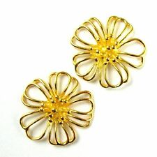 Gold on Sterling Silver Flower Charm-Gold Buttercup Connector Pendant- 20mm -1pc