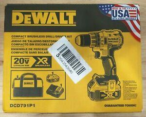 "Dewalt DCD791P1 20V MAX XR Brushless 1/2"" Drill/Driver 5 Ah Battery w/ Bag - New"
