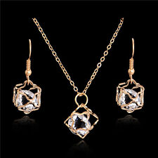 Gold Plated Crystal Cubic Zirconia Necklace Dangle Earring Jewelry Set