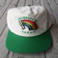Vintage 90s University of Hawaii Rainbow Warriors Snapback Hat Cap White Rare