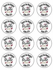 """12x Hen Party Bride Personalised 2"""" PRE-CUT PREMIUM RICE PAPER Cake Toppers"""