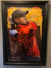 """STEPHEN HOLLAND """"TIGER WOODS THE DRIVER"""" PAINTING IN PRISTINE CONDITION"""
