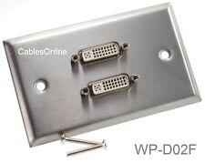 2 Port Stainless Steel DVI Metal Wall Plate, CablesOnline WP-D02F