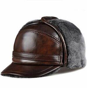Men Winter Warm Cap Man Wool Bomber Hat Leather Fur Caps Boy Ear Protection Hats