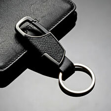 Ring Keyfob Car Keyring Keychain Accessory Men Fashion Metal Leather Key Chain