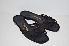 Chanel Black Flower Sandals Flats Leather Suede Size 38.5