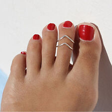 2 X Celebrity Women Stylish Simple Toe Ring Adjustable Foot Beach Jewelry