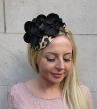 Black Leopard Animal Print Teardrop Fascinator Hat Headband Races Wedding 6385