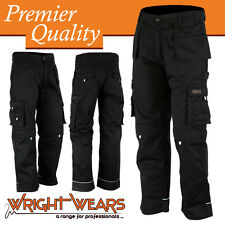 Men Work Cargo Trouser Black Pro-11 Heavy Duty Multi Pockets W:42 - L:31