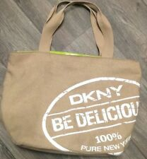 DKNY Be Delicious Tote Handbag Canvas Shopping Grocery Purse Shoulder Bag Beige