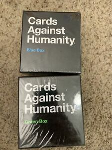 Cards Against Humanity Green Box and Blue Box Complete Set of 2 NEW NIB SEALED