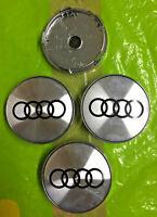 SHINY SILVER Audi Alloy Wheel Centre Caps x4 60mm 4B0601170 A 1 2 3 4 5 6 7 RS