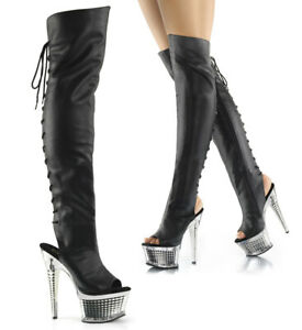 """PLEASER Illusion-3019 6 1/2"""" Heel Thigh-High Boots"""