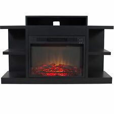"""Electric Fireplace Heater With 46"""" Mantle LED Light Fire Adjustment Black Finish"""