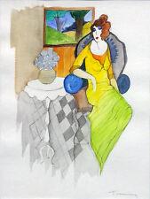 "ITZCHAK TARKAY ""WOMAN BY THE WINDOW"" | ORIGINAL WATERCOLOR | 15 X 11"" | GALLART"