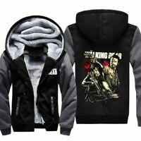 Mens The Walking Dead Graphic Thick Warm Fleece Hoodie Sweatshirt Winter Coat