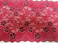 "7.75""/19.5cm Stunning Red Floral Stretch Galloon Lace Trimming. Sewing/Crafts"