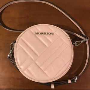 Michael Kors Womens Baby Pink Round Circle Small Crossbody Bag Purse Leather