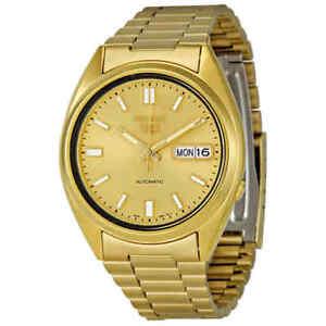 Seiko Series 5 Automatic Gold Dial Yellow Gold-tone Men's Watch SNXS80