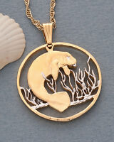 "Manatee Pendant & Necklace, Costa Rica Coin Hand Cut, 1 1/2"" Dia. ( # 378 )"