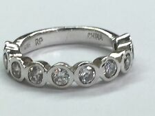 Signed RP 925 Sterling Silver Band/Ring With CZ Stones Size 7